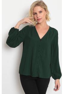 Blusa Com Franzidos- Verde Escuro & Pretalevis