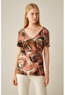 T-Shirt Sacada Malha Est Tartaruga Feminia - Feminino-Marrom
