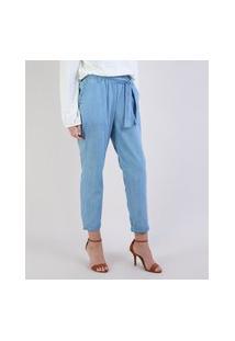 Calça Jeans Feminina Clochard Cintura Alta Com Faixa Para Amarrar Azul Claro