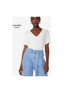Amaro Feminino T-Shirt Decote V Degrau, Off-White