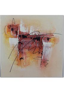 Quadro Artesanal Com Textura Abstrato Vermelho 30X30 Uniart