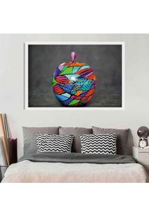 Quadro Love Decor Com Moldura Colored Apple Branco - Médio