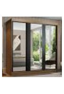 Guarda-Roupa Casal Madesa Reno 3 Portas De Correr De Espelho - Rustic/Preto