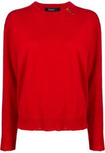 Versace Suéter Com Detalhe De Broche - Vermelho