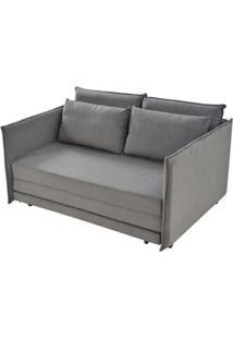 Sofa Cama Bed Com 2 Lugares Assento Linho Cinza Base Madeira - 55413 Sun House