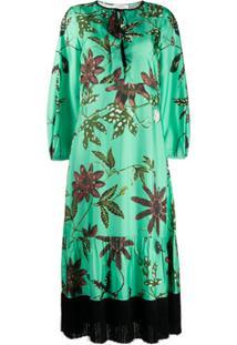 Dorothee Schumacher Vestido De Seda Com Estampa Floral E Detalhe De Franjas - Verde