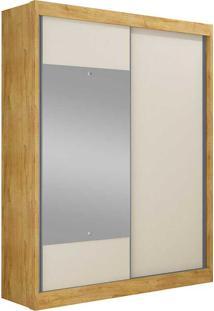 Guarda-Roupa Solteiro Com Espelho 2 Portas Falco Gold Bg- Novo Horizonte - Freijo Dourado / Off White