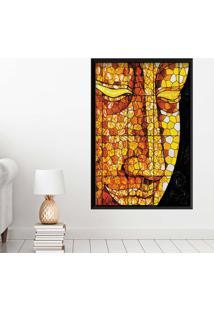 Quadro Love Decor Com Moldura Buddha Em Mosaico Preto Grande
