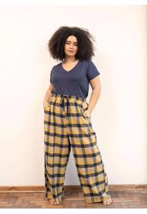 Calça Pantalona Flanelado Xadrez Plus Size Amarelo