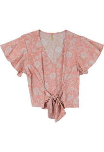 Blusa Com Estampa Floral E Amarração Vermelho