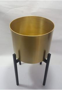 Vaso Metal Dourado C/ Suporte Preto - Multicolorido - Dafiti