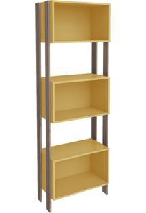 Estante Para Livros 3 Nichos 3093 Rústico/Amarelo - Móvel Bento