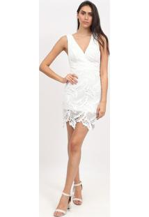 Vestido Em Renda Com Recortes- Branco- Max Glammmax Glamm