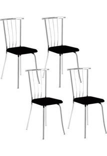 Cadeira 154 Cromada 04 Unidades Preta Carraro