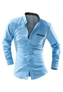 Camisa Masculina Estilo Fit Point Poás - Azul Claro