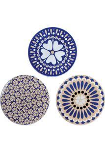 Jogo De Pratos Decorativos Com Suporte- Nude & Azul Escudecor Glass