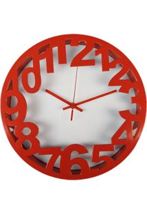 Relógio De Parede Estilo Vintage Detalhes Vermelho 30X30 - Minas