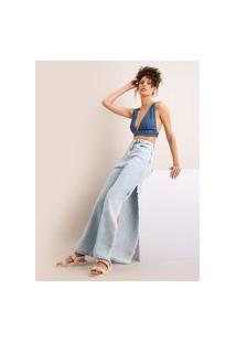 Calça Wide Pantalona Jeans Com Fenda Cintura Super Alta Azul Claro