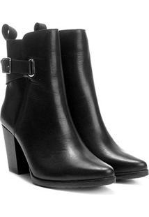 Bota Couro Cano Curto Shoestock Salto Alto Feminina - Feminino-Preto