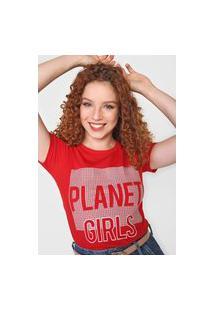 Camiseta Planet Girls Aplicações Vermelha