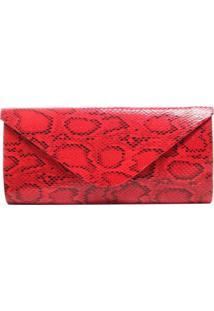 Bolsa Birô Clutch Cobra Feminina - Feminino-Vermelho