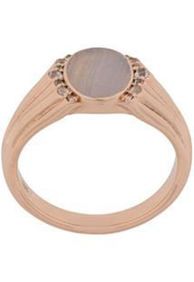 Astley Clarke Anel 'Lace Agate Signet' Banhado A Ouro Rosê 18K - Metálico