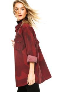 Camisa Manga Longa Carmim Camuflada Vermelho/Vinho