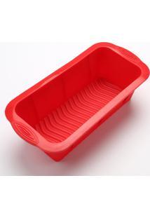 Forma De Silicone Para Bolo, Pão, Bolo Ingles Retangular Vermelha