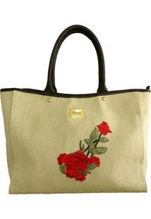 Bolsa Mirol Floral Em Linho