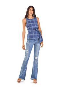 Blusa Decote Redondo Alca Com Faixa Jeans