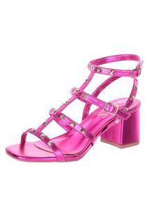 Sandália Damannu Shoes Fiorella Metalizada Pink