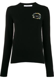Givenchy Blusa De Tricô Com Logo Bordado - Preto