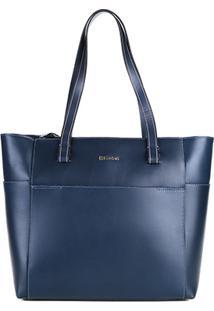 Bolsa Couro Dumond Shopper Recortes Minimalista Feminina - Feminino-Azul