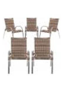 Cadeiras 5Un Para Area Varanda Fibra Sintetica Sala Cozinha Jardim Sacada Colombia - Argila