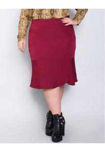 Saia Plus Size Palank Midi Fada Feminina - Feminino-Vermelho