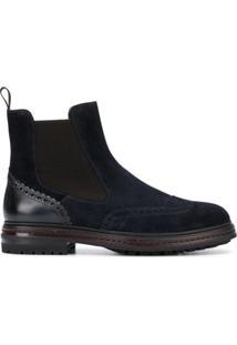 Santoni Ankle Boot Com Recorte Elástico - Azul
