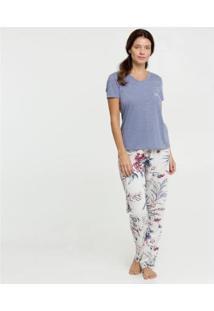 Conjunto De Pijama Marisa Estampa Floral Manga Curta Feminino - Feminino-Azul+Branco