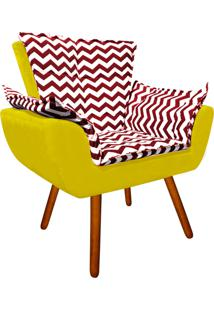 Poltrona Decorativa Opala Suede Compos㪠Estampado Zig Zag Vermelho D79 E Suede Amarelo - D'Rossi - Amarelo - Dafiti