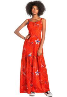 Vestido Laranja Longo Floral Em Algodão