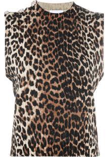 Ganni Blusa Com Estampa De Leopardo E Aplicação De Cristais - Preto