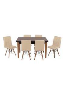 Conjunto Mesa De Jantar Luiza 135Cm Preta Com 6 Cadeiras Gomos - Nude