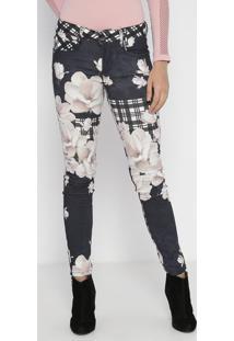 Calça Vênus Em Sarja Floral - Azul Marinho & Off White