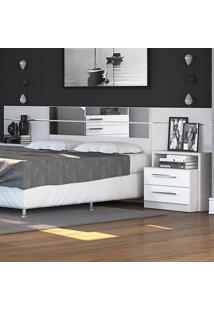 Cabeceira Box Com Criado Mudo Dormitório 2013 B290 Branco Brilho - Kappesberg