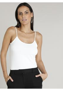 Regata Feminina Básica Alças Finas Decote Redondo Off White