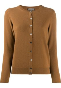 N.Peal Round Neck Cashmere Cardigan - Marrom