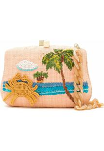 Serpui Clutch Blair Crab De Palha - Rosa
