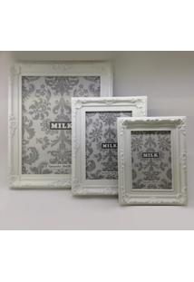 Porta Retrato Retrô De Plastico Branco 10 X 15 Cm Fnb02