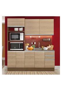 Cozinha Compacta Madesa Laura 7 Portas 3 Gavetas (Sem Tampo E Pia) Marrom