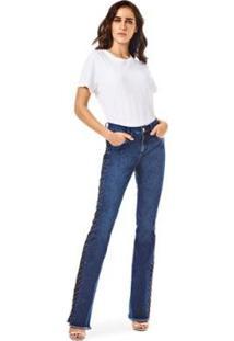 Calça Morena Rosa Boot Cut Carol Cós Intermediário Com Termocolante Jeans Feminina - Feminino
