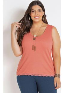 Regata Coral Com Renda Plus Size